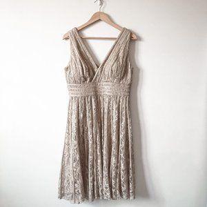 JS Collections Nude Sequin Lace V Neck Dress Sz 12